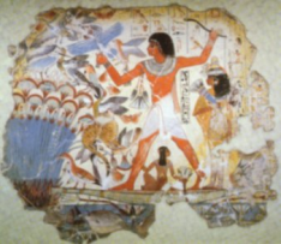 Nebamun, hunting in the marshes with his cat